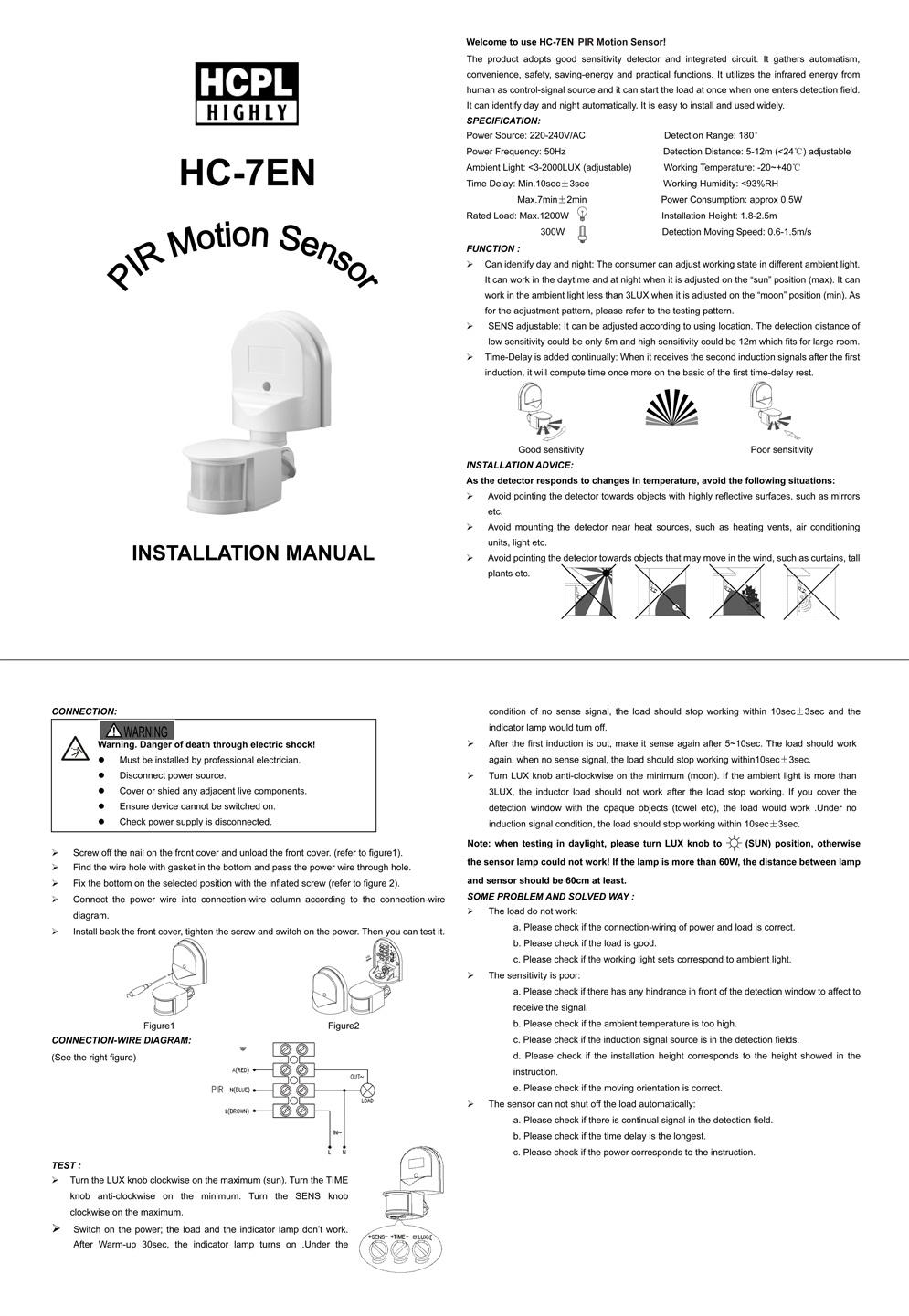 Wall Mount Pir Motion Sensor Hc 7en